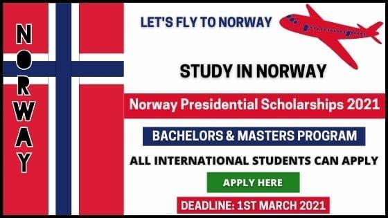 Norway Presidential Scholarships 2021