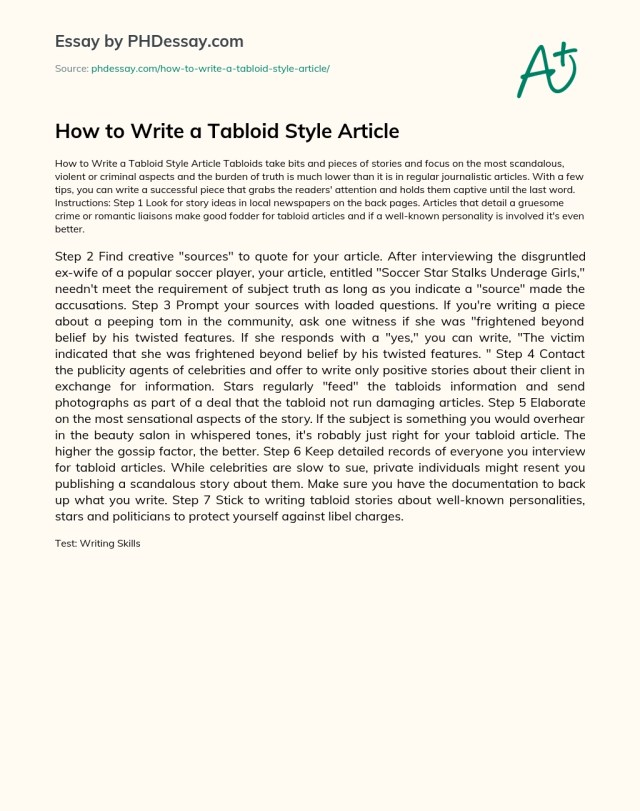 How to Write a Tabloid Style Article - PHDessay.com
