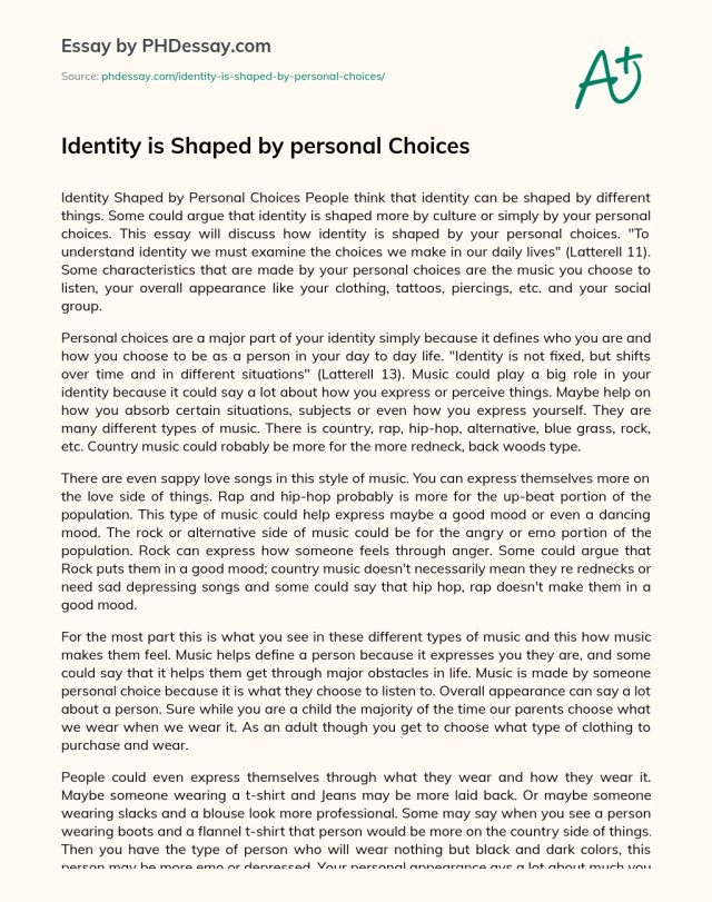 Identity is Shaped by personal Choices - PHDessay.com