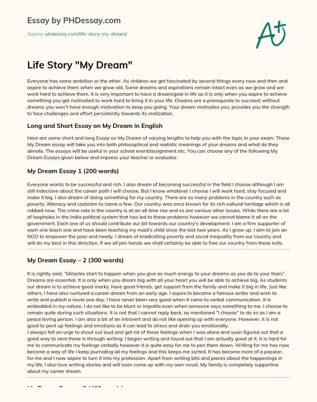 Life Story My Dream - PHDessay.com