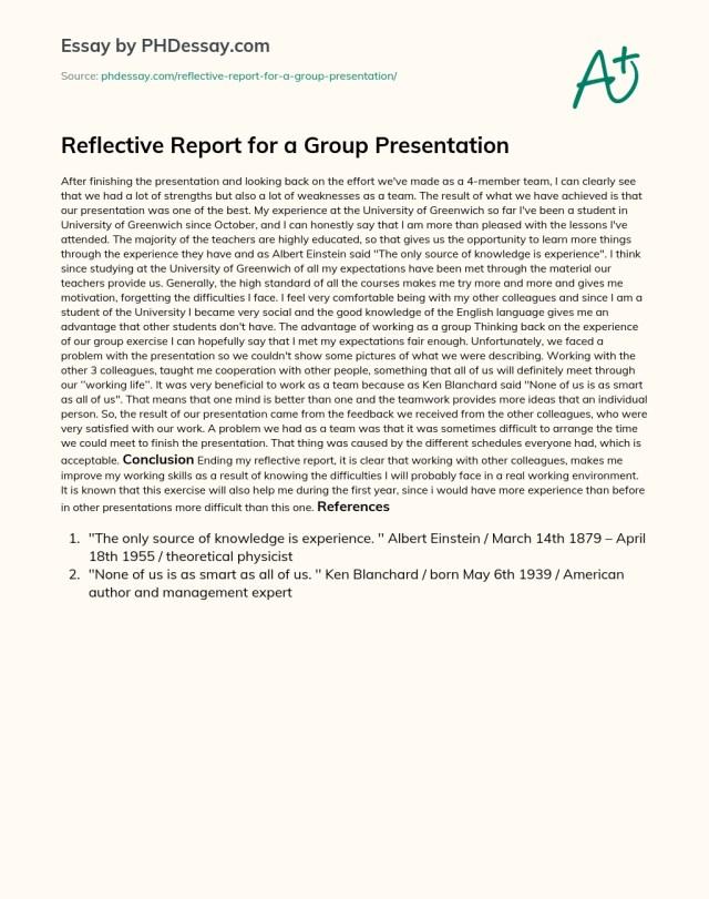 Reflective Report for a Group Presentation - PHDessay.com
