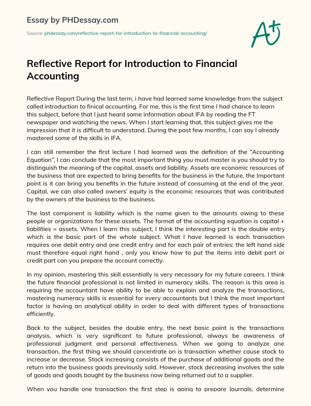 Report For Introduction to Financial Accounting - PHDessay.com