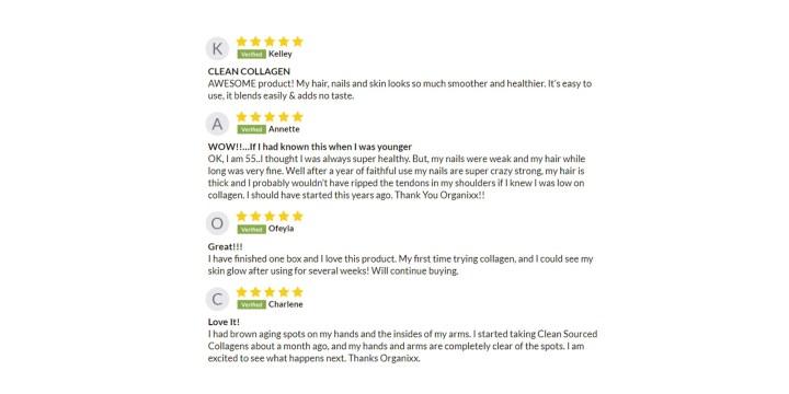 Organixx-Collagen customer reviews