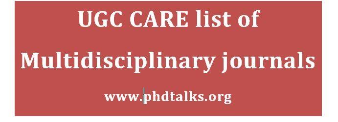 ugc care list multidiscplinary journals