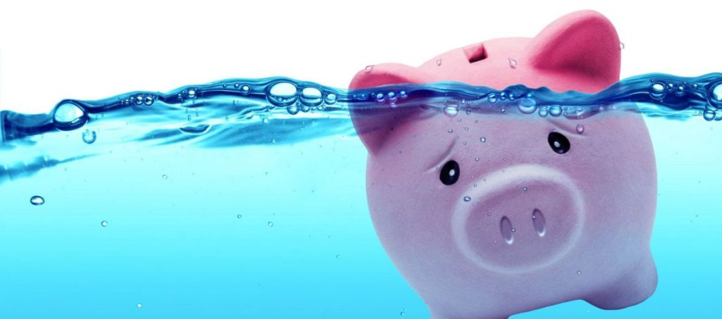 piggy bank in water