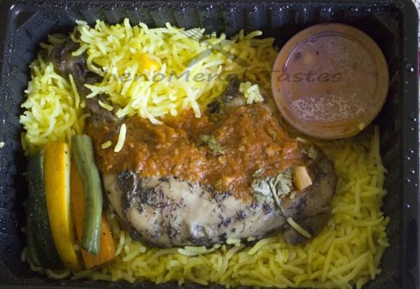chicken confit with corn rice and marinara sauce1