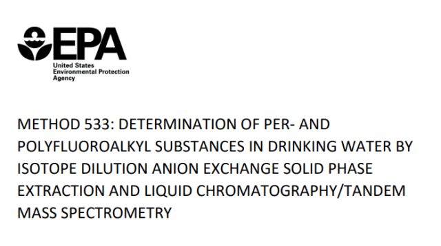 EPA Method 533 - PFAS in drinking water