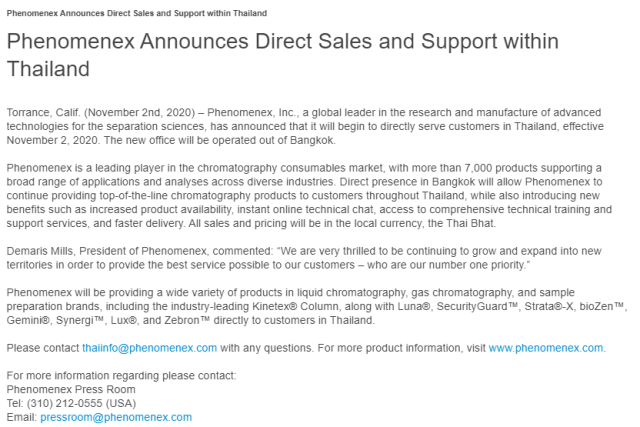 Phenomenex Announces Going Direct in Thailand