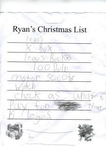 Ryans Christmas List-2012