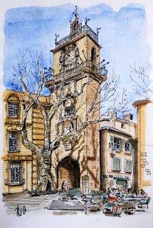 Aquarelle du beffroi d'Aix-en-Provence