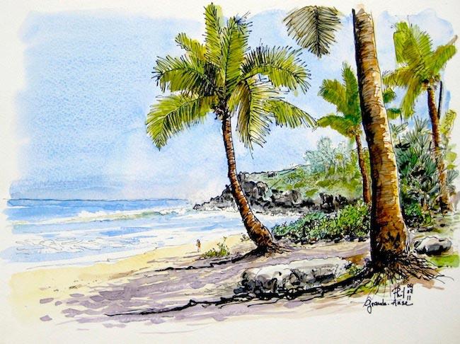 Aquarelle de la plage de Grande Anse, Ile de la Réunion.