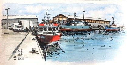 Le bateau de pêche Laksmi amarré.