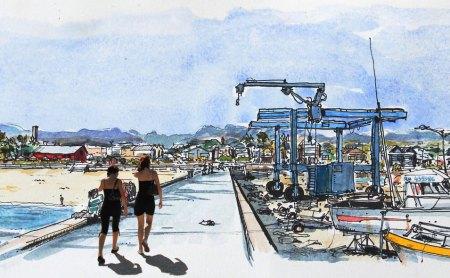 Aquarelle du port de Saint-Pierre, Ile de la Réunion