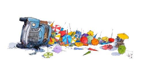 """Le tableau """"Parasol"""" représente un camion qui a renversé son chargement de parasols."""