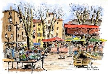 Croquis montrant le marché sur la Place Richelme, Aix-en-Provence
