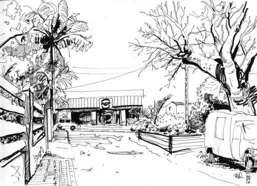 Croquis d'une ruelle de Saint-Pierre, Ile de la Réunion.