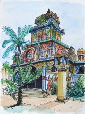 Aquarelle d'un temple tamoul. Saint-Pierre, Ile de la Réunion.