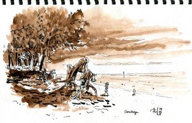 Un croquis de la plage de l'Ermitage, côte ouest de la Réunion.