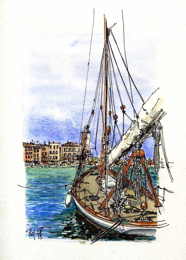 Watercolor of a sailboat at anchor, France