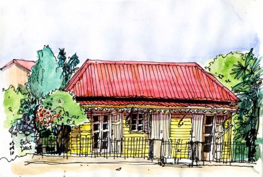 Sketch of a creole house, Reunion Island, by Phil