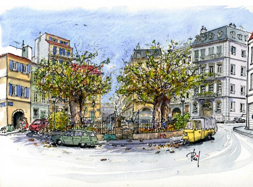 Drawing of a small place in Marseilles.