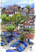 Watercolor of a neighborhood in Marseilles, by Phil