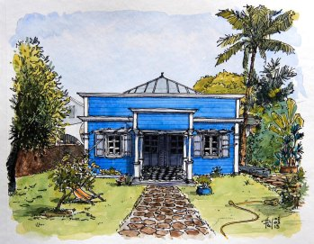 Watercolor of a creole house, by Phil