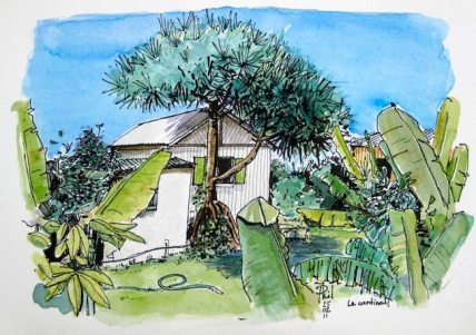 Watercolour : a litlle creole house in a garden.