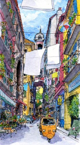 Watercolor of a street in Napoli, by Phil