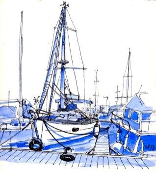 Sketch of a sailboat at anchor, Reunion Island