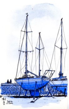 Sketch of a sailboat at anchor, Reunion Island