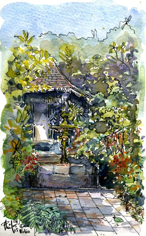 Aquarelle d'un guétali ou gloriette, dans le jardin de la maison Folio.