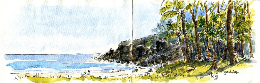 Sketch of Grande Anse beach, Reunion Island.
