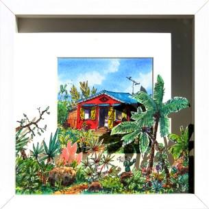Tableau représentant une case créole dernière un jardin luxuriant