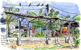Croquis d'un lavoir municipal, à Saint-Pierre, île de la Réunion