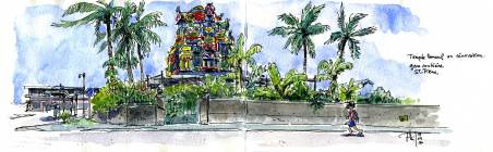 Sketch of a tamoul temple, in Saint-Pierre, Reunion Island