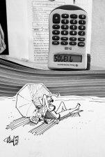 Mélange de photo et dessin : femme prenant le soleil sous une calculatrice..