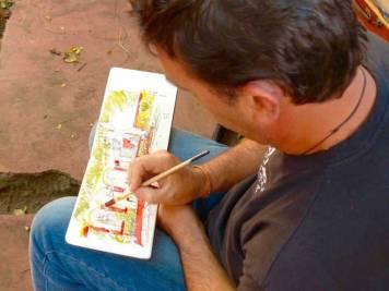 Phil dessine le temple chinois Guan Di à Saint-Pierre