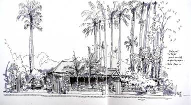 "Sketch of the ""Royal"" restaurant, l'Entre-Deux, Reunion Island"
