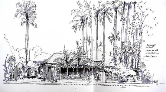 "Sketch of the ""Royal"" restaurant, l'Entre-Deux, Reunion Island"