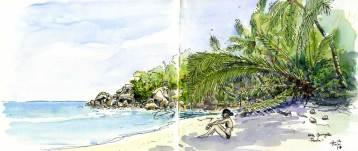 Sketch of a little beach in Praslin, Seychelles Islands