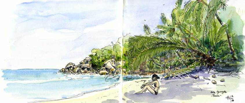 Sketch of a little beach in Praslin, Seychelles Islands