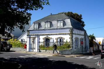 Dessin aquarellé de la Maison Adam de Villiers, Saint-Pierre, île de la Réunion