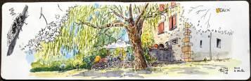 Dessin aquarellé d'une maison et son jardin.