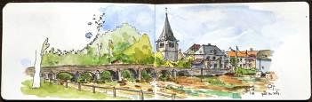 Dessin aquarellé du village de Cry, Bourgogne.