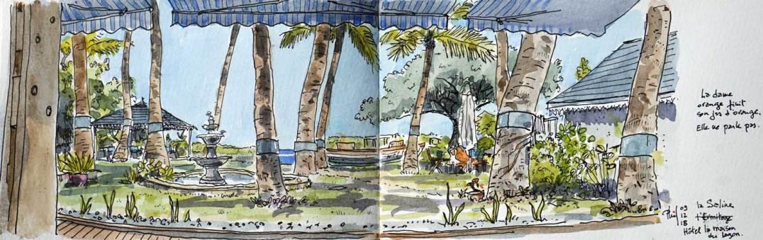 Dessin aquarellé d'un jardin donnant sur le lagon.