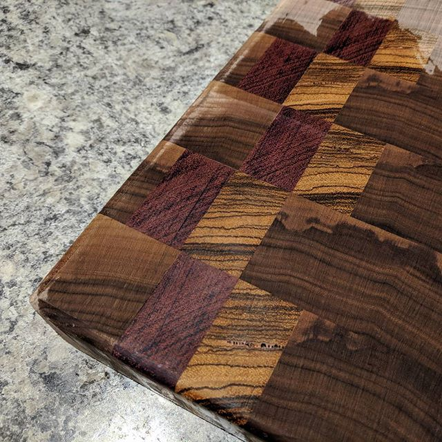 I think I'm really going to like this one when it's done. End grain Walnut, Zebrawood, and Purpleheart cutting board.