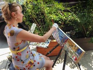 Erin McGee Ferrell painting Philadelphia. Photographer Michael Klusek