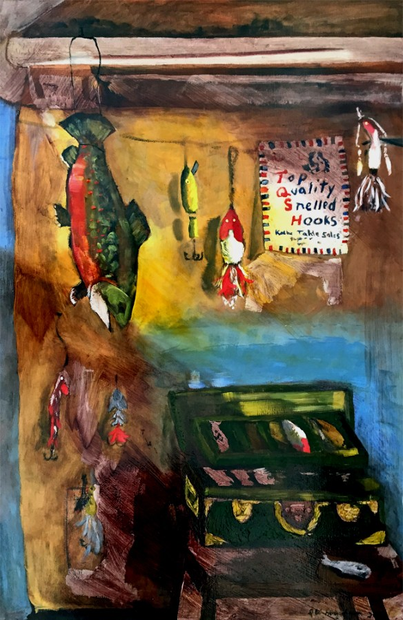 Painting by Dan Hourihan. Maine Art Studio. Adult Oil Painting Fish Still life