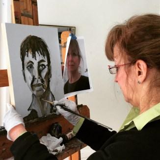 Jo Freilich. Collaborative Self-Portraits. Adult Oil Painting Lesson. Erin McGee Ferrell, American Artist. Art teacher, Falmouth Maine. www.Philadelphia-Artist.com